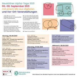 Neuköllner Alpha-Tage 2021 am 6. bis 8. September
